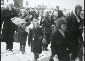 Finske børn ankommer til et midlertidigt ophold i Danmark. Med den fredsaftale, som træder i kraft i morgen, vil Finland dog stå over for et endnu større flygtningeproblem. Fra Frihedsmuseets billedarkiv.