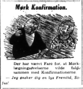 Avisen Social-Demokraten kan ikke lade være med at spøge, om udsigten til at en lang række københavnske konfirmationer måske afholdes i mørke.